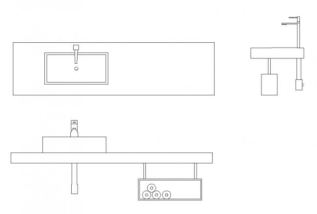 Sebuah wastafel kamar mandi dalam tiga aspek,
