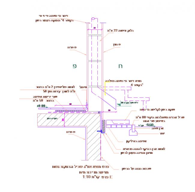 Basement waterproofing details with differences in height,