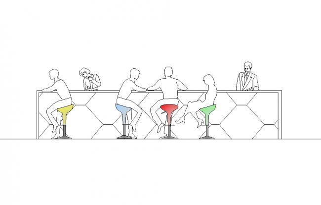 Block people sitting at the bar