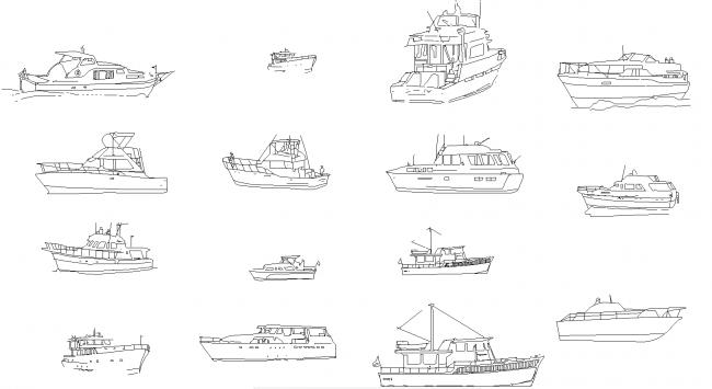 Blokke af både og skibe