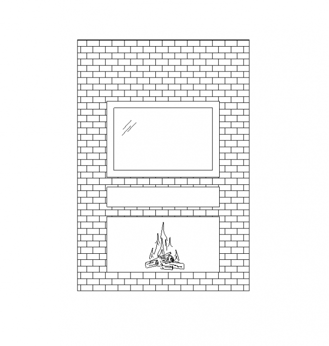 Brick wall with a fireplace