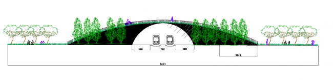 Cross-section with a bridge over the railway