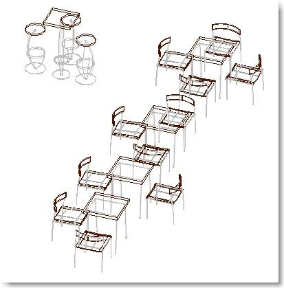 Different blocks bistro furniture 3D
