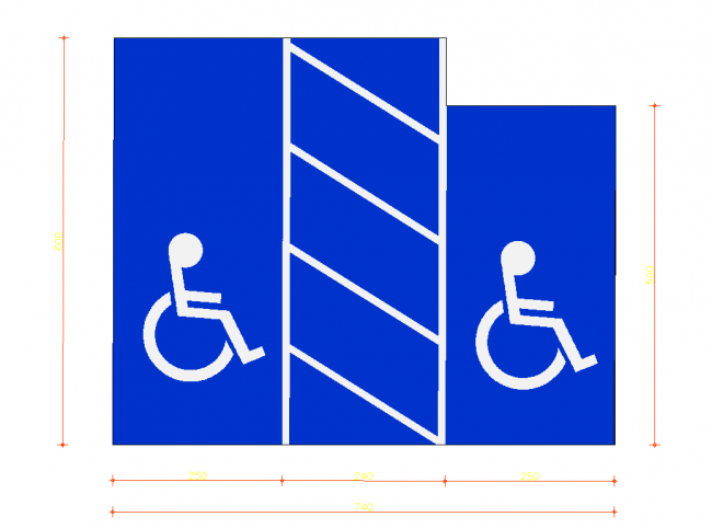 Disabled parking double for regular car