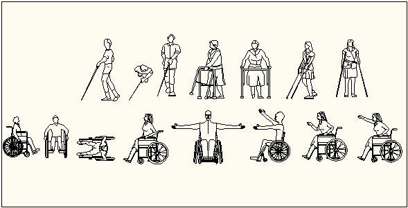 Disabled wheelchair and crutches