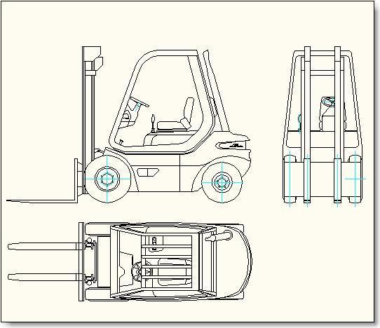 Forklift - three views