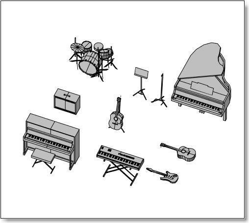 Gitarrer, piano, trummor