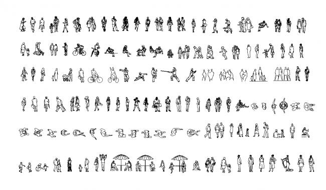 Mänskliga figurer och människor planerar och avsnitt