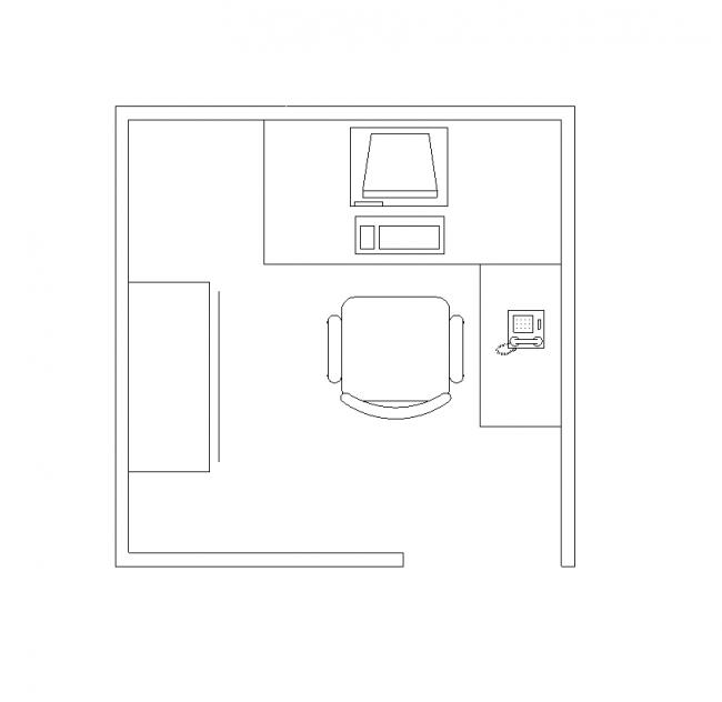 Office tartalmaz egy asztal és szék
